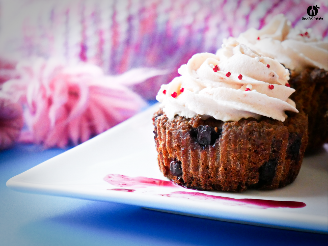Blueberry Oatmeal Muffins with Raspberry-flavoured Cream Cheese Frosting