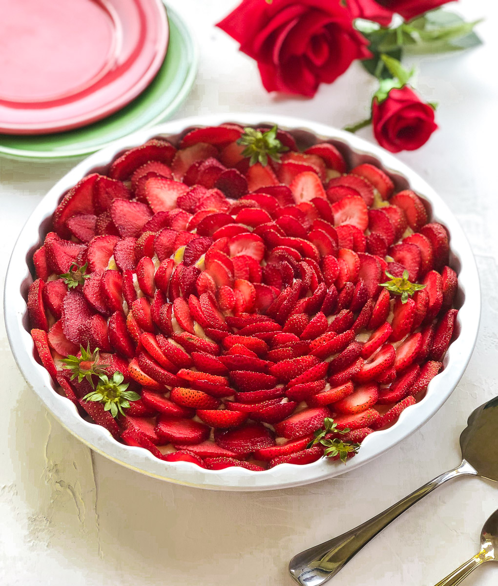 easy strawberry custard tart